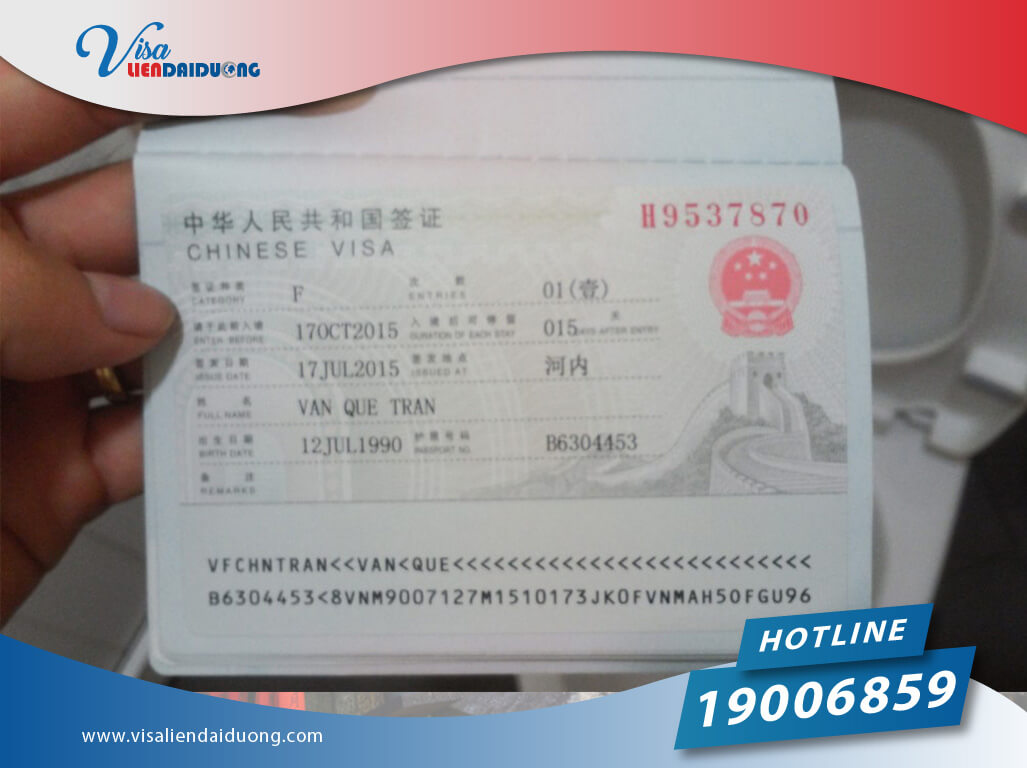 các loại visa Trung Quốc